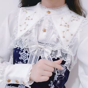 Sweet-Lolita-Gold-Thread-Horoscope-Embroidery-Base-Shirt-Long-Sleeve-Blouse-New