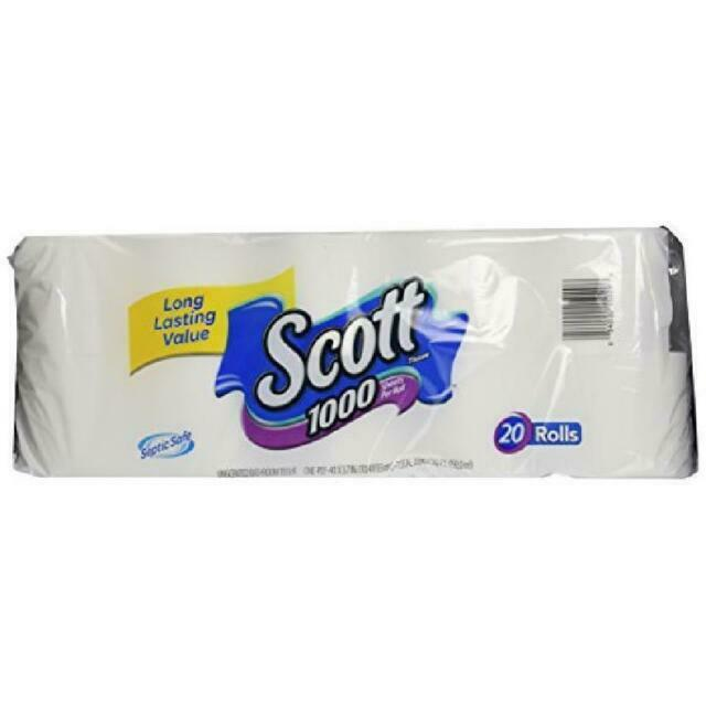 Scott 20032 Bath Tissue 1000 Sheet Toilet Paper - 20 Rolls