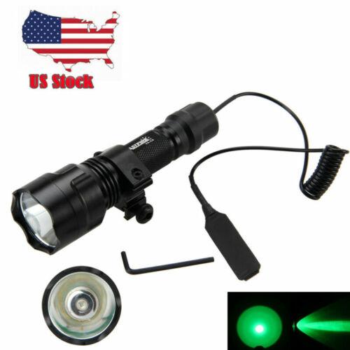 5000lm Green Q5 LED Tactical Flashlight Torch Shotgun//Rifle Mount Remote Switch