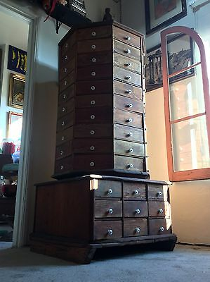 c1903 American Bolt 98 Drawers Hardware Revolving Cabinet Print Store Octagonal