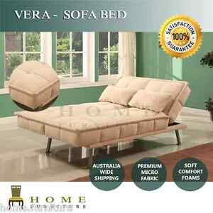 BRAND-NEW-Modern-Design-Sofa-Bed-Lounge-3-seater-Beige-Micro-Fabric-and-pillows