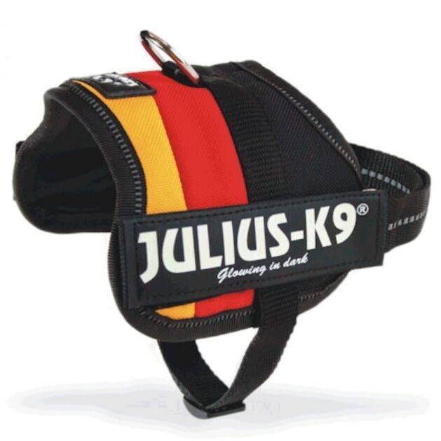 Julius K-9 Power-Geschirr - DEUTSCHLAND - Schwarz - Rot - Gold - Hund - NEU
