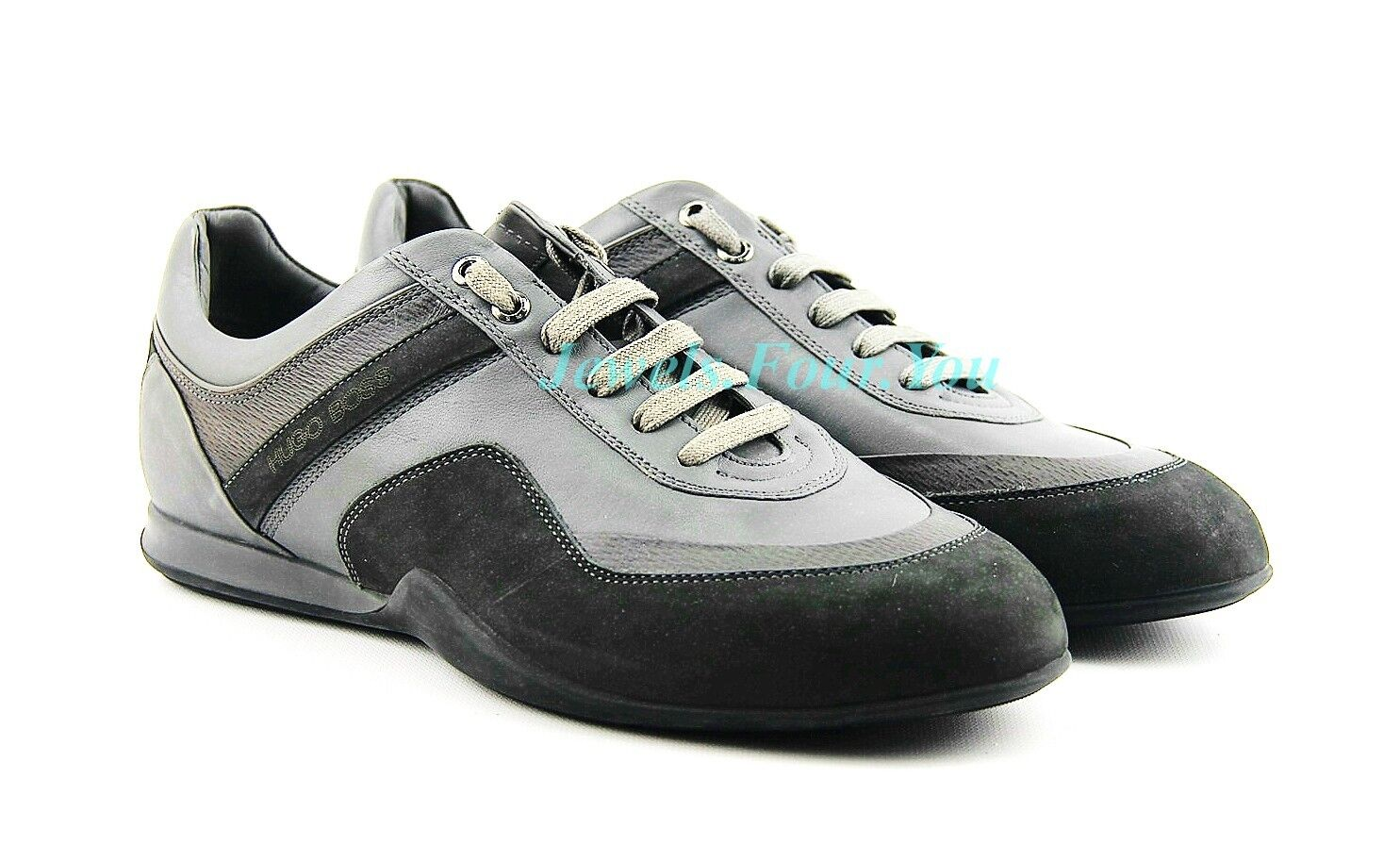 HUGO BOSS BLACK LABEL GRAMOL GRAY SHOES SNEAKERS LEATHER NEW SZ 10 43