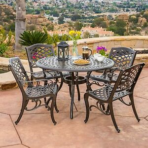 Outdoor Patio Furniture 5pcs Bronze Cast Aluminum Dining Set ...