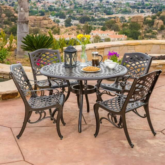 Charmant Outdoor Patio Furniture 5pcs Bronze Cast Aluminum Dining Set