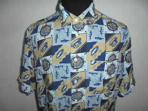 vintage-THE-FLAGSHIP-Hemd-crazy-pattern-shirt-fischen-Viskose-fishing-club-XL