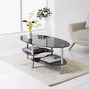 Modern-Black-Glass-amp-Chrome-Oval-Living-Room-Coffee-Table-With-2-Shelves