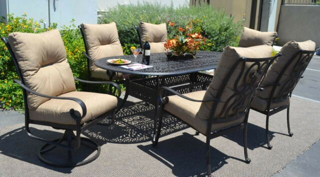 7pc Patio Dining Set Oudoor Cast Aluminum Furniture Chairs Sunbrella Bronze