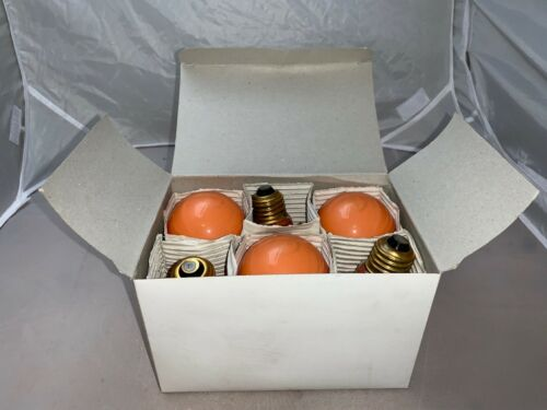 Box Of 6-Orange 100 Watt A19 LightBulb 100A19//CO Guaranteed LongLife Made in USA