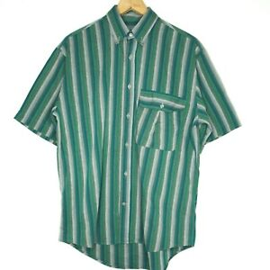 Acis-Green-Striped-Mens-Button-Up-S-S-Shirt-Size-Large-Made-In-Italy