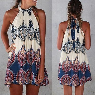 Sexy Women Summer Boho Sleeveless Evening Party Cocktail Beach Mini Short Dress