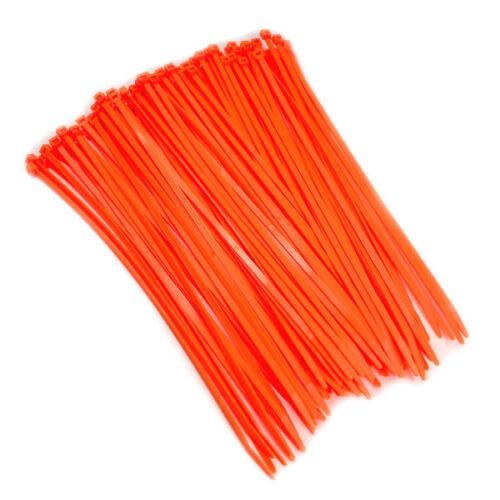 8.5 Fluorescent Orange Color 40# Nylon Cable Zip Ties  100pc Bag