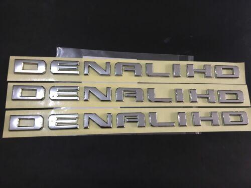 3x Chrome Denali HD Nameplate EMBLEMS FIT FOR Yukon Sierra Terrain