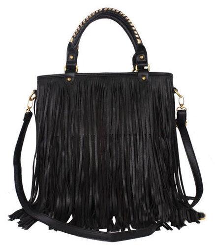 Black Womens Fashion Punk Tassel Fringe Handbag Tote Messenger Shoulder Handbag