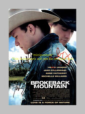 """BROKEBACK MOUNTAIN CAST X2 PP SIGNED 12""""X8"""" POSTER"""