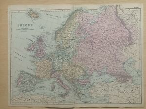 1891 Europe Hand Coloured Original Antique Map by G.W. Bacon