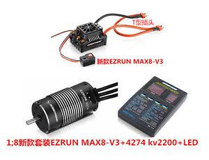 Hobbywing-EzRun-Max8-V3-150A-Brushless-ESC-w-T-Plug-4274-2200KV-Motor-LED