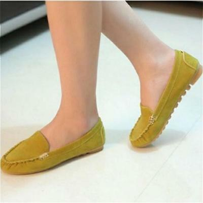 Womens Casual Pumps Flat Suede Driving Moccasin Gommino Soft Round Toe Shoes LG