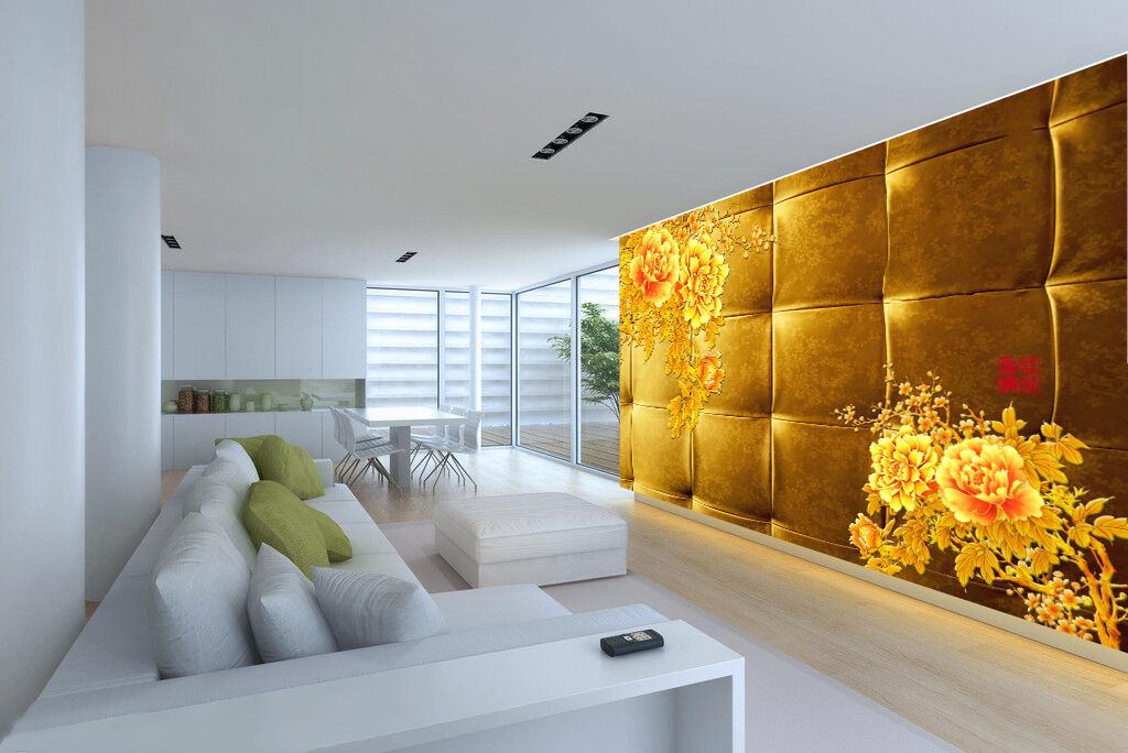 3D Golden Flowers Soft 1 Paper Wall Print Decal Wall Wall Murals AJ WALLPAPER GB