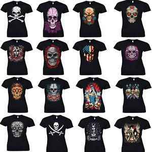 6e0bffa9 Ladies Mexican Sugar Skull T Shirt Day Of Dead Tattoo Rock Metal ...