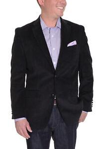 100% De Qualité Hommes 44r Ralph Lauren Noir Côtelé Coton Veste Blazer Avec Coude Patchs