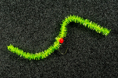 3 x Hulk Vert FNF chewing-gum Fly Fishing WORM FLIES Worms FL orange bead