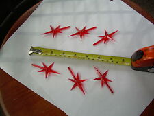 CERAMIC CHRISTMAS TREE TOP SMALL RED PLASTIC STAR LOT OF 6