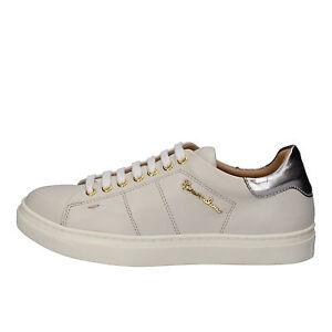 premium selection 88fff 2d8ad Dettagli su scarpe donna BRACCIALINI 37 sneakers argento ghiaccio pelle  AE544-B