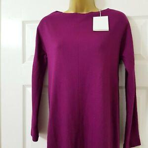 Nicole-Farhi-100-Wool-Raspberry-Red-Long-Sleeve-Knitted-Dress-Cocoon-Shape-8