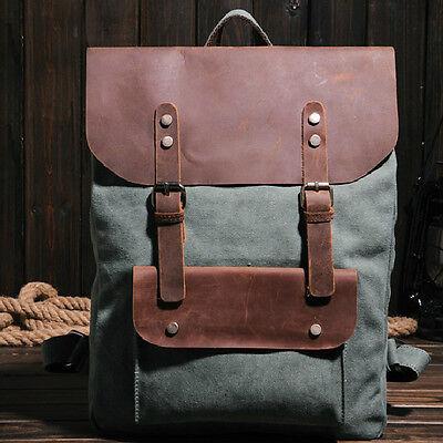 New Retro Vintage Canvas Leather Rucksack College School Backpack Travel Satchel