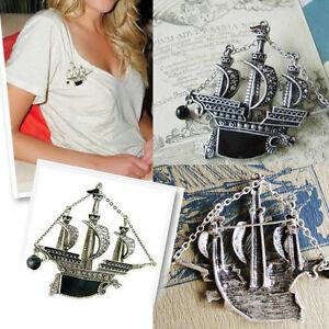 Punk Vintage Silver Sailing Boat Ship Pirate Vessel Dragon Brooch Pin Crystal