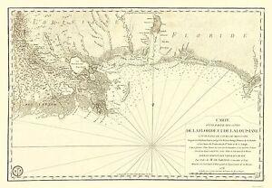 Florida Gulf Beaches Map.Old Travel Map Florida And Louisiana Gulf Coast Sartine 1778