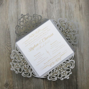 Silver Personalised Laser Cut Wedding/Engagement Invitations Free Custom print