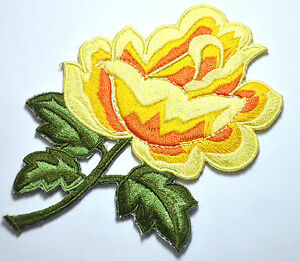 YELLOW-ROSE-FLOWER-TRIMMING-Embroidered-Sew-Iron-On-Cloth-Patch-Badge-APPLIQUE