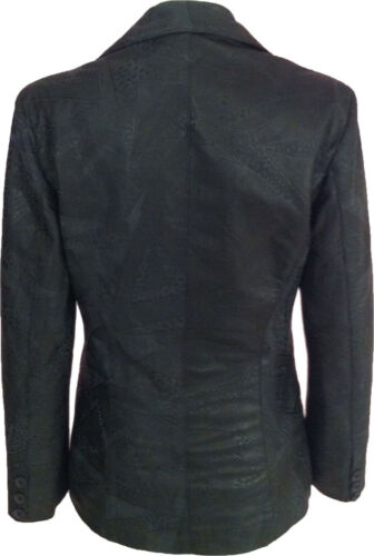 "Blazer da Donna Stampato NERO LEATHER JACKET /""TAGLIA 10/"" #G 3"