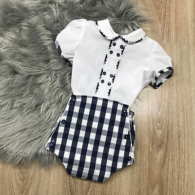 Spanish Style Baby Boy Blue and Cream Knitted All in One Romper Outfit