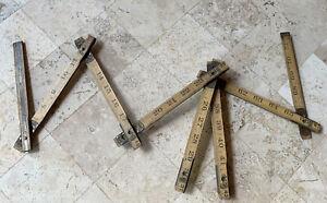 Vintage-Lufkin-X46-Folding-Wood-Rule-Brass-Slide-Red-End-Extension-Ruler