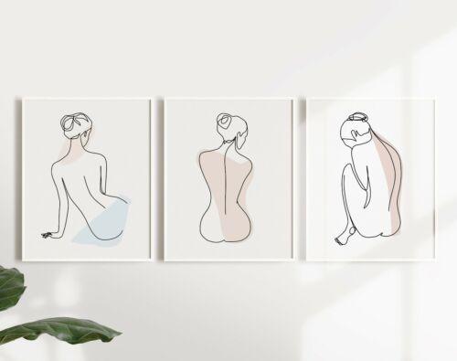 Set of 3 Woman Line Art Drawing Prints Perfect for minimalist decor