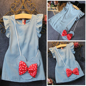 228f4cf02e6 Cute Kids Baby Girl Dress Minnie Mouse Bag Ruffles Demin Blue Party ...