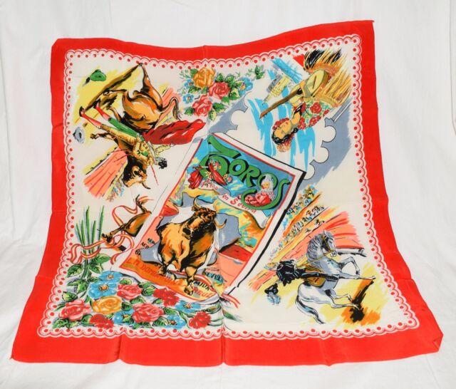 NEW Vintage Mexican Zoros Bullfighter Brightly Colored Souvenir Silk Scarf NOS