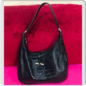 Details about LONGCHAMP Roseau Crocodile Embossed Black Leather Shoulder Bag