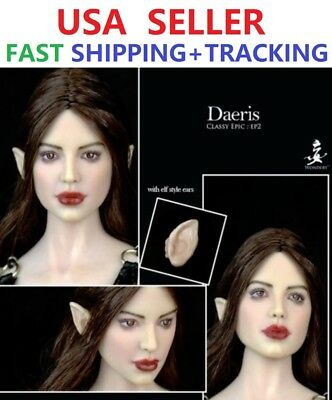 "1//6 Fairy Female Head Sculpt Detachable Ears PALE For 12/"" PHICEN Figure ☆USA☆"