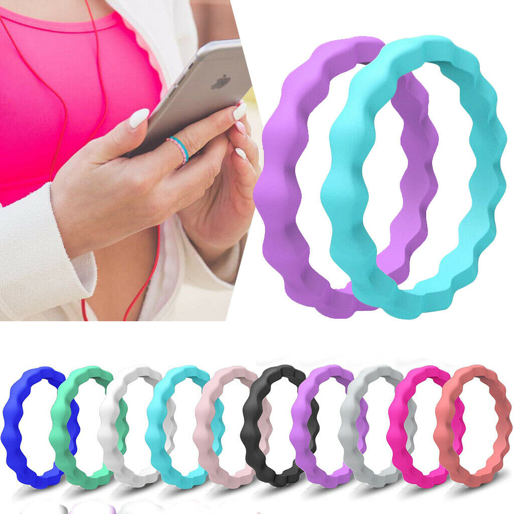 10x Flexible Silicone Rubber Sports Rings Wedding Gym Workou
