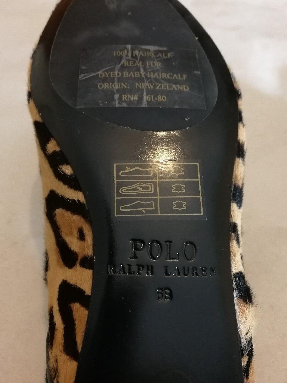 POLO RALPH LAUREN NALA LEOPARD CALFHAIR FLAT eu SHOE Tan Größe uk 4 eu FLAT 37 bc45b8