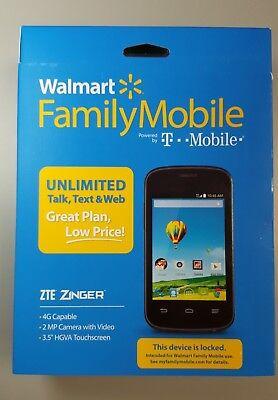 ZTE Zinger - 4GB - Black (Walmart Family Plan) Smartphone BRAND NEW