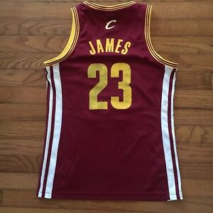 separation shoes 02480 47eae Details about Lebron James Cleveland Cavaliers Jersey Womens Medium Adidas  NBA Basketball