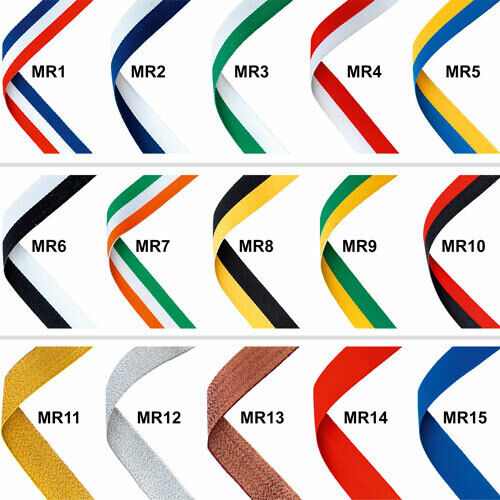 Medal ribbons - 22mm wide, 30  long - complete with metal clip fastening