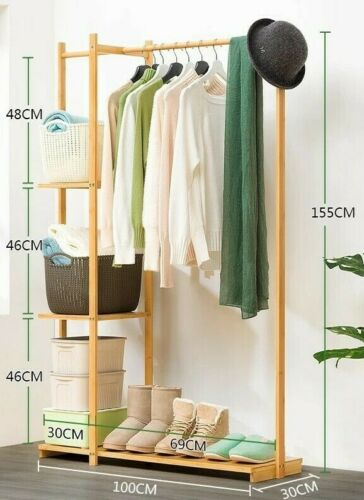 Bamboo Clothes Hanger Coat Rack Garment Hanger Holder Hat Rack Stand Organizer