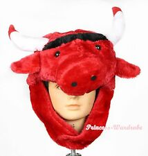 XMAS RED WEBUFFALO BULL COW COSTUME WARM HAT MASK H68