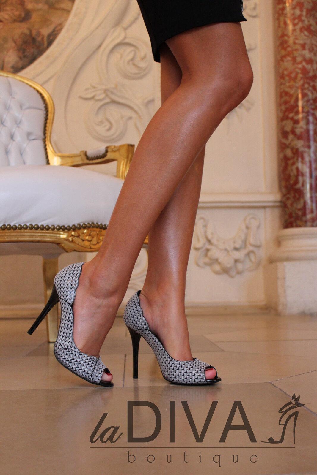 Gerardina di Maggio ~ ITALY PUMPS IN PELLE 37 Peep Toe Nero Bianco% SALE% OVP